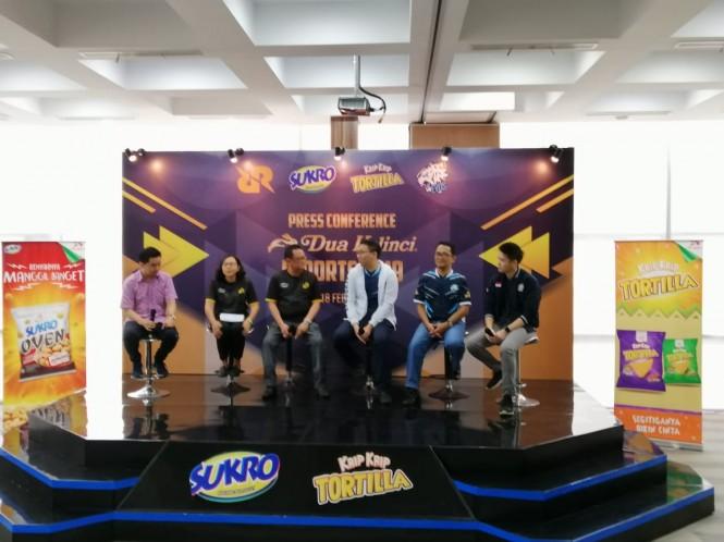 Konferensi pers Dua Kelinci menjadi sponsor RRQ dan EVOS di Jakarta, Senin 18 Februari 2019