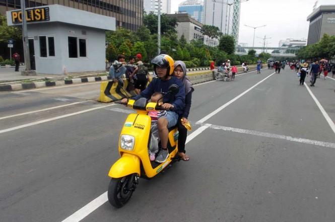 Sepeda listrik berbasis aplikasi Migo e-bike belum terdaftar di kepolisian. MI/Pius Erlangga
