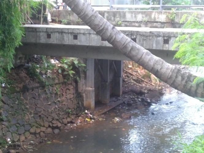 Jembatan tempat pria gantung diri ditemukan di Tebet, Jaksel. Foto: Medcom.id/Kautsar Widya Prabowo.