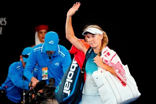 Caroline Wozniacki usai tersingkir dari pentas Australian Open 2019. (Foto: DAVID GRAY / AFP)