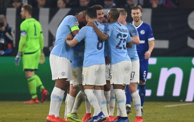 Para pemain Manchester City merayakan gol Leroy Sane ke gawang Schalke (Foto: AFP/Patrik Stollarz)