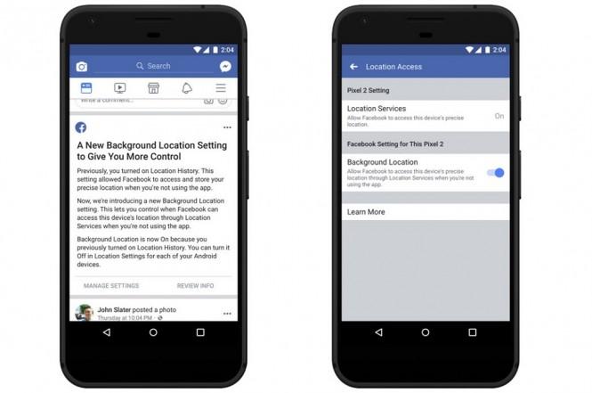 Facebook menggulirkan update untuk aplikasi versi Android terkait fitur pelacakan lokasi.