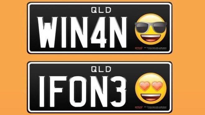 emoji ini tentu disematkan hanya sebagai hiasan saja alias tidak mempengaruhi nomor kendaaraan. Facebook.com/PersonalisedPlatesQueensland