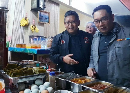 Dewan Pengarah Teritorial Tim Kampanye Nasional (TKN) pasangan calon presiden dan wakil presiden Joko Widodo-Ma'ruf Amin di Jawa Barat, Ridwan Kamil (kanan). Medcom.id/ Arga Sumantri.