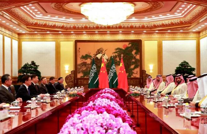 Pertemuan antara Putra Mahkota Arab Saudi Mohammed bin Salman dengan Presiden Tiongkok Xi Jinping. (Foto: AFP)