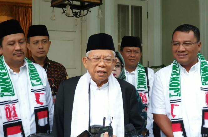 Calon wakil presiden nomor urut 01 Ma'ruf Amin saat hendak berangkat menjalankan safari politik ke Cimahi dan Purwakarta. Foto: Medcom.id/Arga Sumantri.