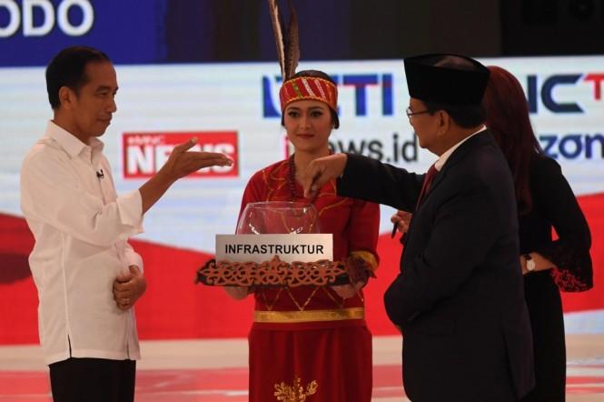 Calon wakil presiden nomor uru1 01 Joko Widodo dan calon wakil presiden nomor urut 02 Prabowo Subianto. Foto: ANT?Akbar Nugroho Gumay