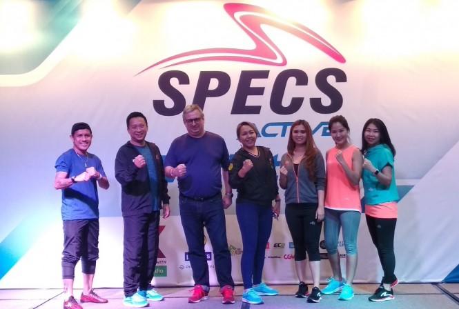 Vice President Sales and Marketing Specs, Ryan Tirta (kedua dari kiri) saat peluncuran Specs Active di GOIFEX, Sabtu 23 Februari (Medcom.id/Rendy Renuki)