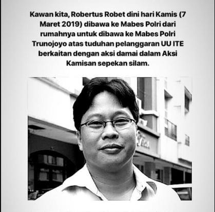 Pegiat HAM Minta Robertus Robet Dibebaskan