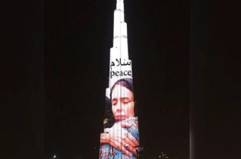 Foto PM Selandia Baru Muncul di Burj Khalifa