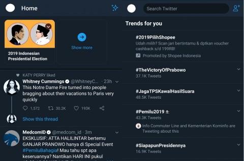Tab Khusus Twitter Jadi Wadah Kicauan Pemilu 2019