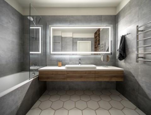 Wallpaper Dinding Desain Sendiri  inspirasi warna abu abu di kamar mandi medcom id