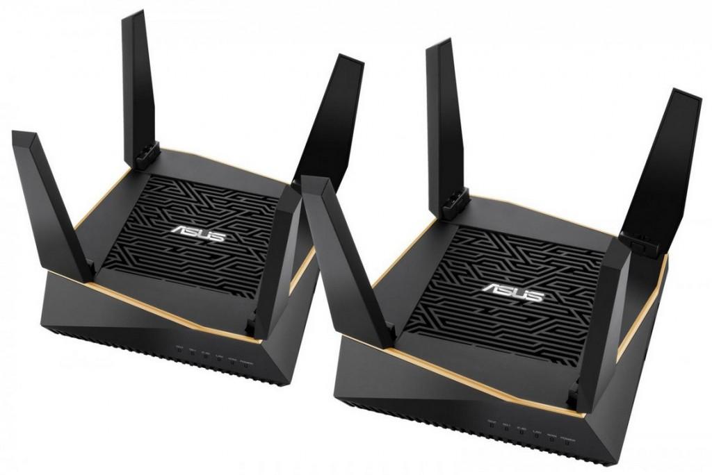 Dua router ASUS RT-AX92U yang mendukung AiMesh AX6100 WiFi System.