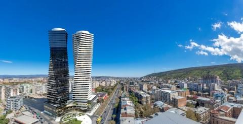 Menara Kembar Tertinggi di Tbilisi Berbalut Batu dan Kaca