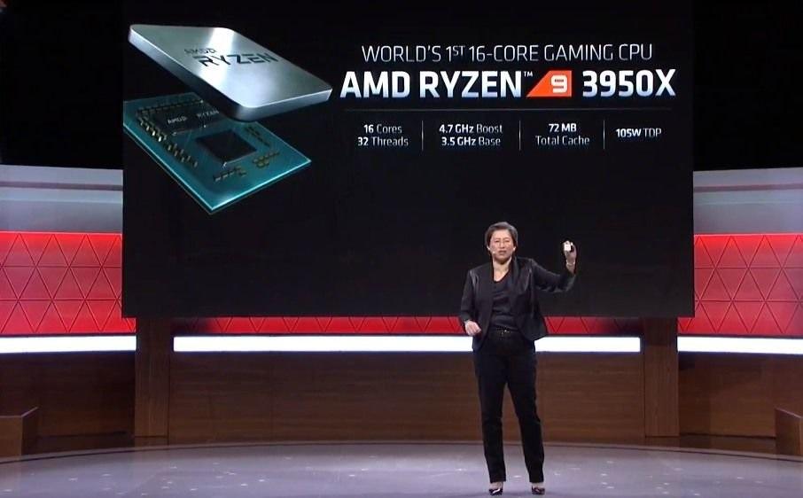 CEO AMD, Dr. Lisa Su mengumumkan AMD Ryzen 9 3950X di E3 2019. (Engadget)
