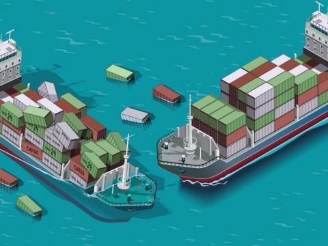Kapal Peti Kemas Tabrak Container Crane di Pelabuhan Tanjung Emas