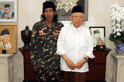 Ma'ruf Amin Apresiasi Nazar Banser NU Jalan Kaki Sumatra-Jakarta