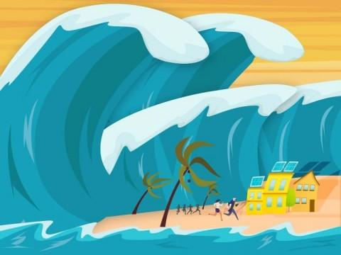 Warga Pesisir Pantai Carita Menyelamatkan Diri ke Lokasi Aman