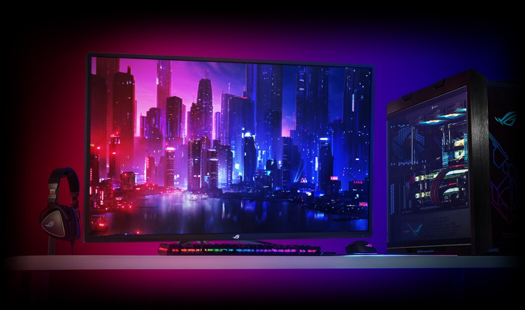 Monitor gaming ASUS ROG Strix XG438Q berukuran 43 inci.
