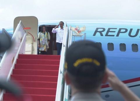 Jokowi Arrives in Bali for PDI Perjuangan Congress