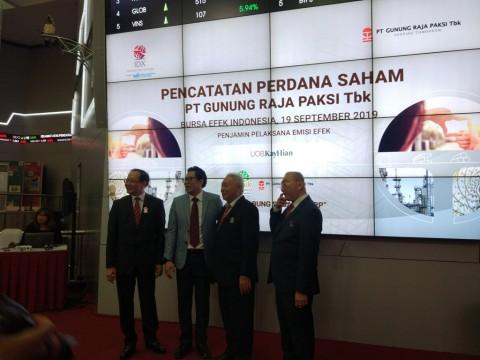 <i>Listing</i> Perdana, Saham Gunung Raja Paksi Naik 9,52%
