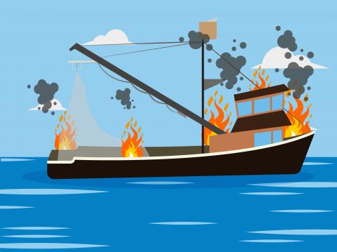 Kapal Ikan di Halmahera Utara Terbakar