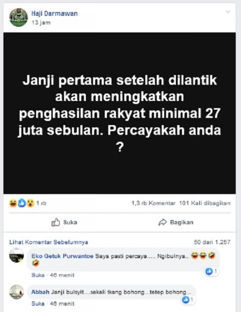 Janji Jokowi Setelah Dilantik Meningkatkan Penghasilan Rakyat Rp27 Juta Sebulan?