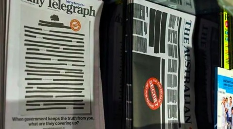 Kebebasan Pers Dipasung, Koran Australia Sensor Halaman Depan