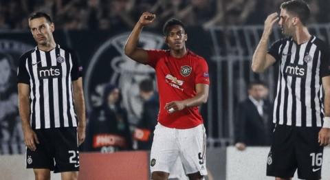 Gol Penalti Anthony Martial Bantu MU Atasi Partizan Belgrade