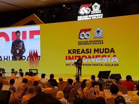 Jokowi Sebut Golkar Tulang Punggung Pemerintah
