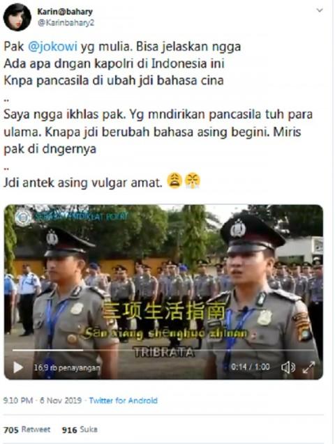 Polisi Mengubah Pancasila dengan Bahasa Tiongkok? Ini Faktanya