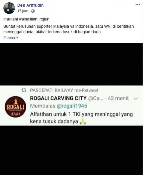 [HOAKS] Ricuh Pertandingan Pra-Piala Dunia, Pendukung Indonesia Tewas Ditusuk di Malaysia