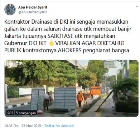 [CEK FAKTA] Kontraktor Sabotase Drainase Ciptakan Banjir untuk Sudutkan Anies?