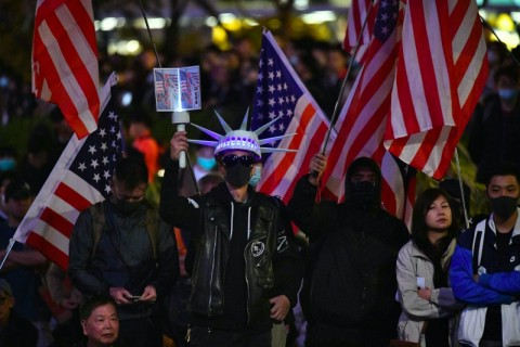 Pedemo Hong Kong Sambut Dukungan Trump