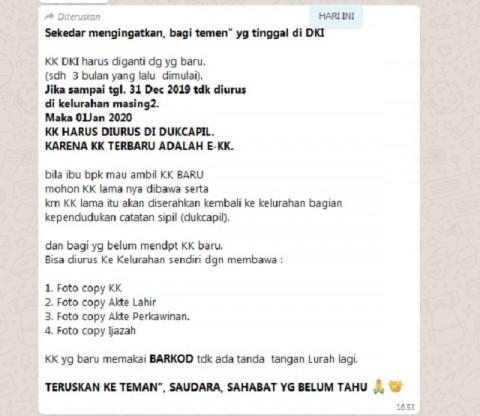 Dukcapil DKI Klarifikasi Hoaks Soal Kartu Keluarga