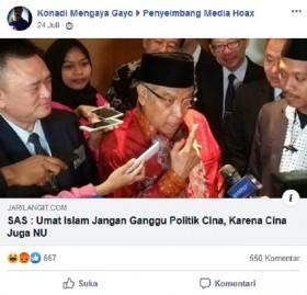 [Cek Fakta] Said Aqil Minta Umat Islam Jangan Ganggu Politik Tiongkok, karena Tiongkok Juga NU