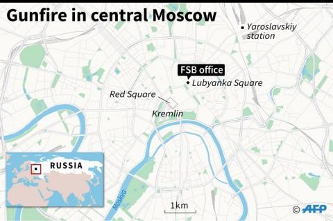 Suasana Pascapenembakan di Dekat Kantor Intelijen Rusia