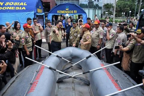 Mensos Buka Posko Induk Penanggulangan Bencana di Jakarta