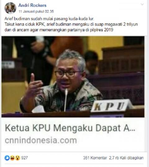 [Cek Fakta] Megawati Menyuap Ketua KPU Arief Budiman Rp2 Triliun? Ini Faktanya