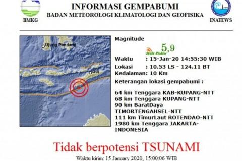 Kupang Diguncang Gempa Magnitudo 5,9