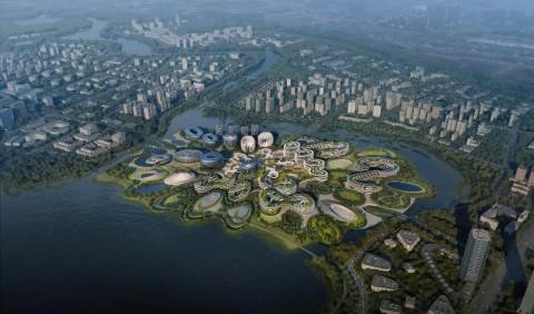 Bangunan Pertama di 'Pulau Unicorn' Tiongkok Segera Rampung