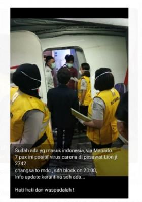 [Cek Fakta] Hoaks, 7 Penumpang Lion Air di Manado Positif Terinfeksi Virus Korona