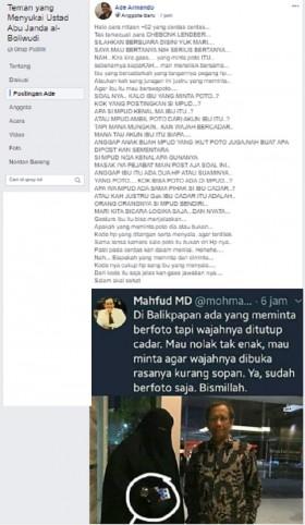 [Cek Fakta] Foto Mahfud MD Pose Bareng Wanita Bercadar yang Ramai Dipersoalkan? Ini Faktanya