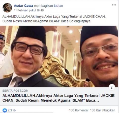 [Cek Fakta]  Aktor Jackie Chan Resmi Memeluk Islam? Ini Faktanya