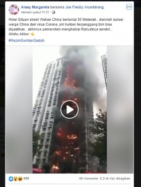 [Cek Fakta] Hotel 30 Lantai Tempat Isolasi Warga Tiongkok dari Wabah Virus Korona Terbakar? Ini Faktanya