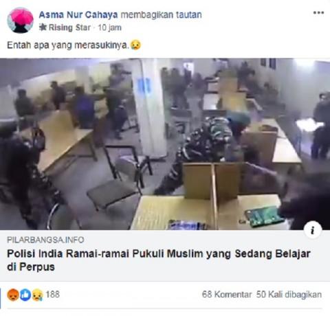 [Cek Fakta] Polisi India Ramai-ramai Pukuli Pelajar Muslim yang sedang Belajar di Perpustakaan? Ini Faktanya