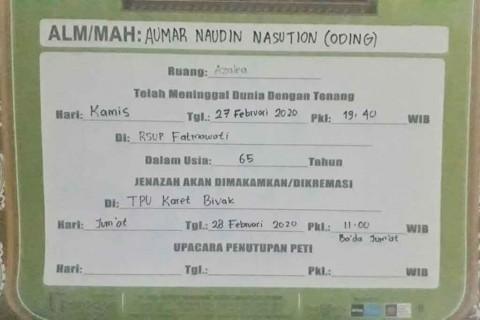 Oding Nasution Dimakamkan di TPU Karet Bivak