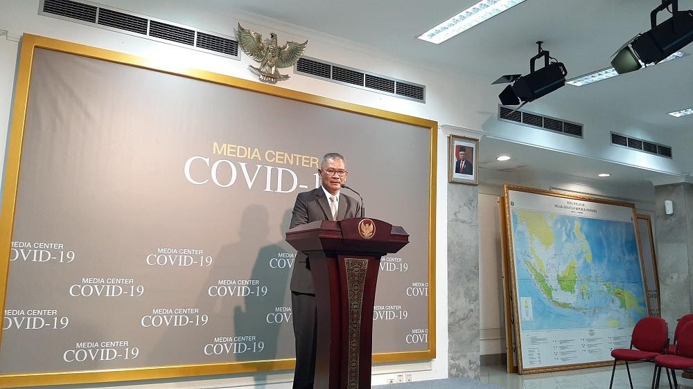 Juru bicara pemerintah untuk penanganan virus korona Achmad Yurianto menyampaikan keterangan pers di Kantor Kepresidenan/Medcom.id/Nur Azizah