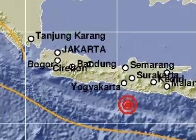 Gempa di Pacitan, Jawa Timur. (Tangkapan layar laman BMKG)