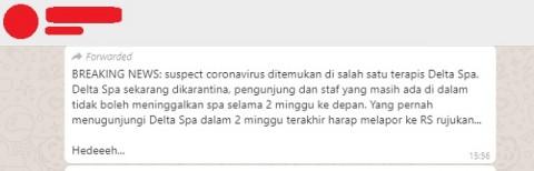 [Cek Fakta] Delta Spa Diisolasi karena Seorang Terapis <i>Suspect</i> Korona? Hoaks